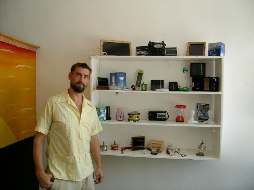 Mason Huffine shows off SolarAid TZ's lamp collection